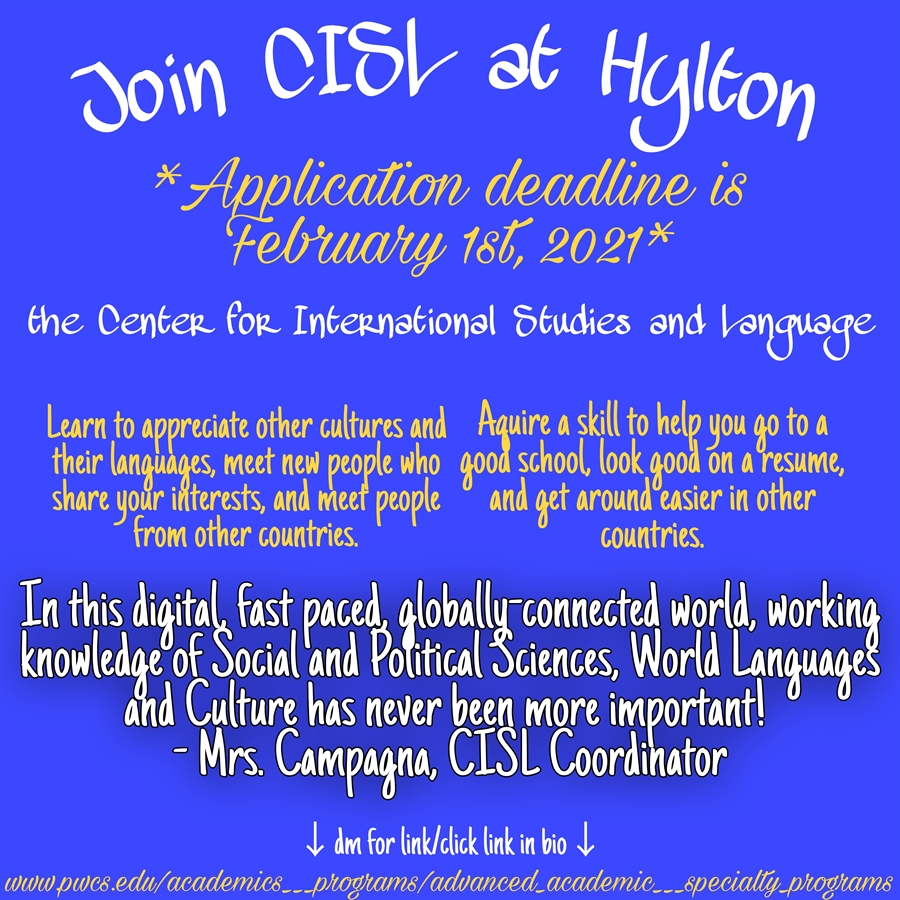 Join CISL at Hylton. Click here to be redirected to application page